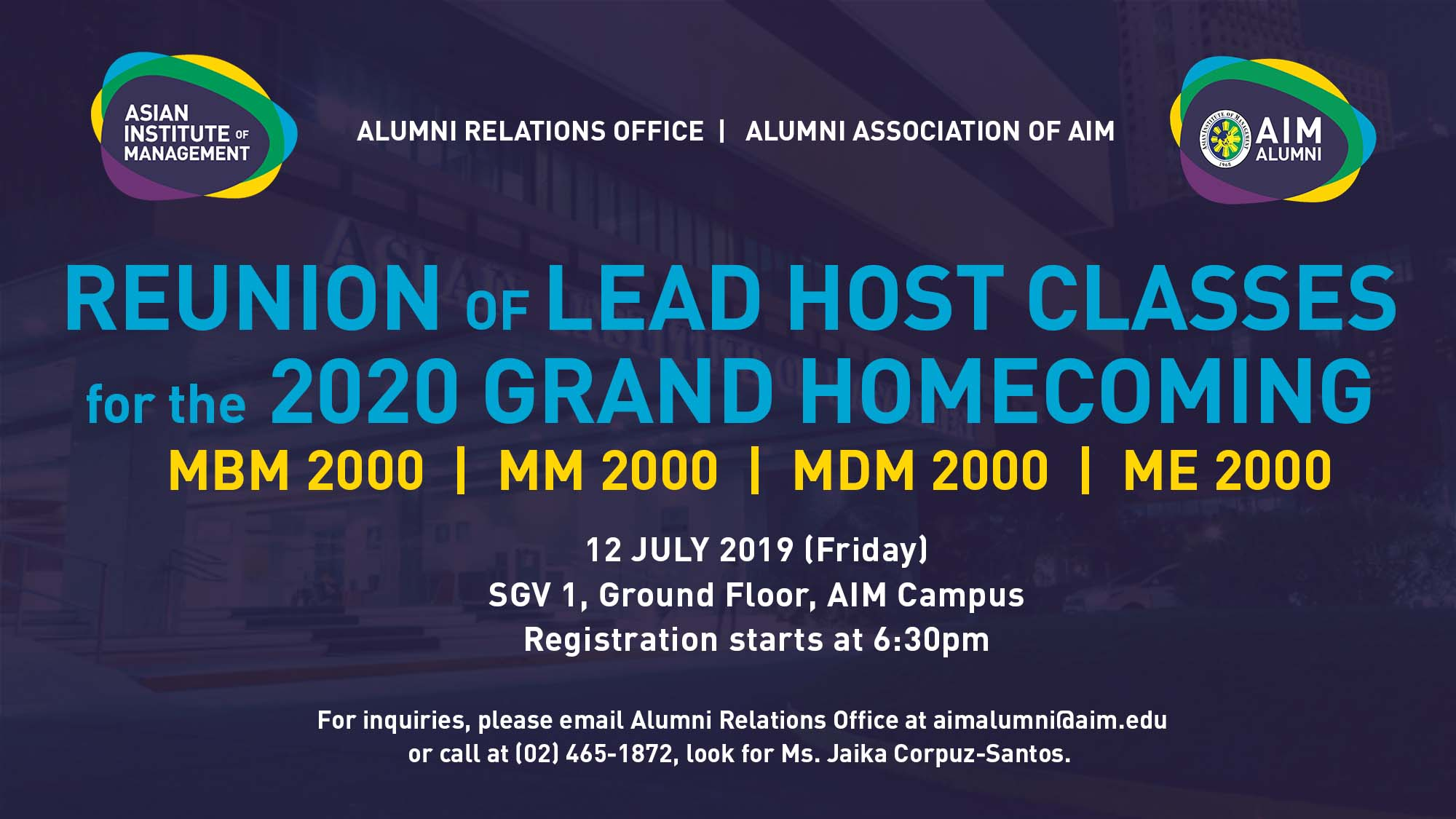 Reunion of Lead Host Classes for the 2020 Grand Homecoming