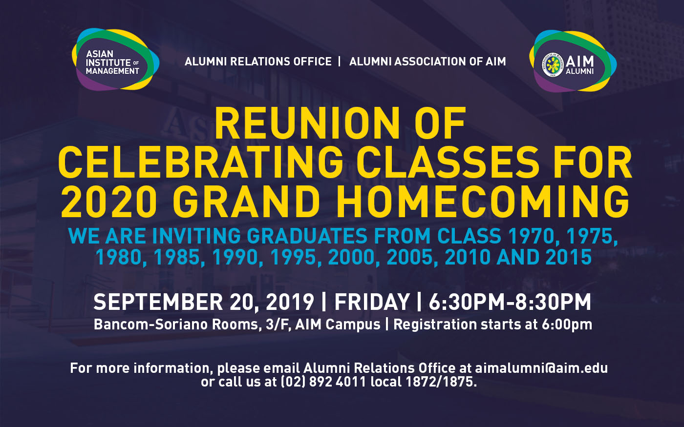 Reunion of Celebrating Classes for 2020 Grand Homecoming