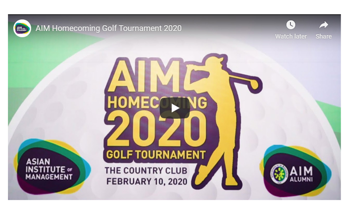 AIM Homecoming 2020 Golf Tournament